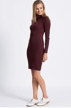 Dzianinowa sukienka z golfem długi rękaw bordowa High Neck Dress, Sweaters, Dresses, Fashion, Turtleneck Dress, Vestidos, Moda, Fashion Styles, Sweater