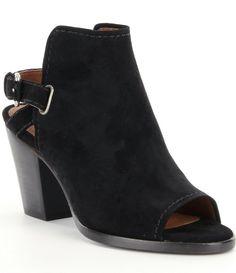 8ce3537366 Frye - Dani Shield Sling Block Heel Sandal in Black. Peep Toe Ankle Boots Shoe ...