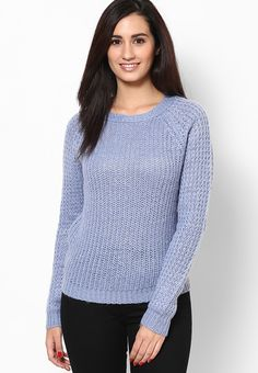 Impress everyone with your amazing fashion sense donning this blue coloured sweater from Dorothy Perkins. Fashioned from 100% acrylic, this sweater will keep you cosy all day long. Team this sweater with jeans and matching belly shoes for a chic look.