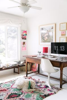 lucy laying in victoria smith's home office / sfgirlbybay