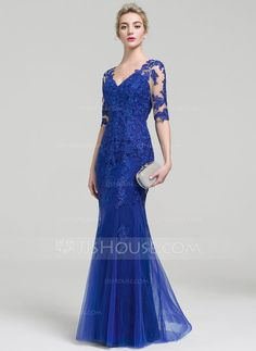 Trumpet/Mermaid V-neck Floor-Length Zipper Up Covered Button Sleeves 1/2 Sleeves No Other Colors Spring Summer Fall General Plus Tulle Lace Height:5.7ft Bust:33in Waist:24in Hips:34in US 2 / UK 6 / EU 32 Evening Dress
