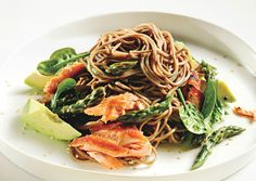 This is an absolutely delicious summer salad!  People rave when I've made it - Soba Noodle Salad with Salmon and Asparagus - Bon Appétit
