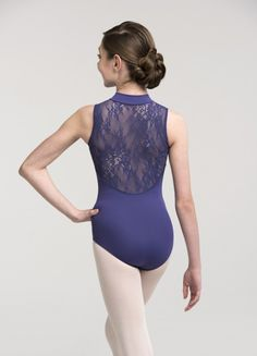 AinslieWear Zip Front Leotard with Kara Lace Back - Girl's