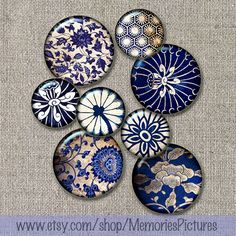 Blue floral  vintage wallpaper fragments by MemoriesPictures