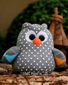 sock owl - free pattern with directions and illustrations.