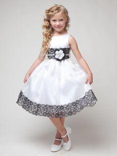 White Dress w/ Flower & Black Lace Detailing - Βαφτιστικό φόρεμα - Gowns For Girls, Little Girl Dresses, Girls Dresses, White Flower Girl Dresses, Lace Flower Girls, White Dress, Dress Black, Kids Frocks Design, Girl Dress Patterns