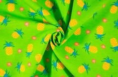Cotton Spandex - Green Pineapples
