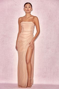 24c1a1c0d39d3 Clothing   Max Dresses    Nastassia  Rose Gold Corseted Maxi Dress House Of  Cb