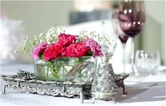 Flower arrangement vased on a classic silver piece for the vintage wedding - decor by D'Masque Turbine Hall, Wedding Decorations, Table Decorations, South Africa, Flower Arrangements, Weddings, Classic, Flowers, Silver