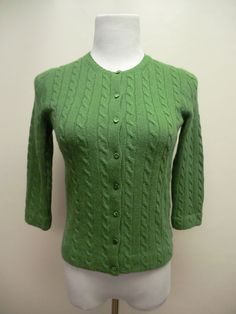 NEW J. CREW FOREST GREEN CABLE KNIT MERINO WOOL/CASHMERE BLEND CARDIGAN SMALL  #JCrew #Cardigan