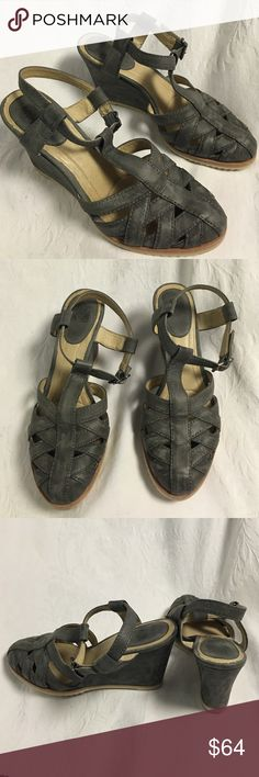 Frye maye fisherman gray wedge strappy sandals This is an excellent pair of fry strap he gray leather wedge sandals with buckle closure. 3 inch heel. Only worn a couple of times and in excellent condition. Great to transition into fall Frye Shoes Sandals
