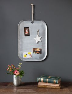 This stunning and chic tray shaped memo board comes with a hanging rope and 10 magnets. Its a great place to keep track of those invitations and phone numbers.