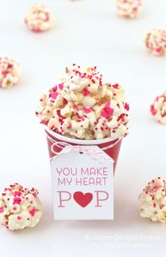 You Make My Heart Pop Recipe and Free Printable -perfect Valentines Day treat!