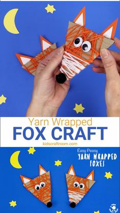 This Autumn craft for kids is so cute! See how to make an adorable and easy Yarn Wrapped Fox Craft. A quick and easy recycled Fall craft for little hands. This Woodland Creatures craft is great for building fine motor skills. #kidscraftroom #foxcrafts #fox #foxes #recycledcrafts #kidscrafts #woodlandcreatures #finemotorskills #kidsactivities #Fallcrafts #Autumncrafts