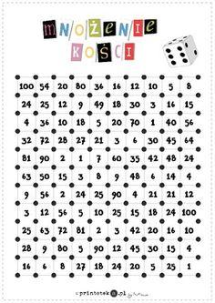 Plansza do gry z kostkami — Mnożenie. Kości dziecięciościenne - Printoteka.pl Math Games, Preschool Activities, Multiplication Squares, Polish Language, Times Tables, Math Worksheets, I School, Child Development, Travel With Kids