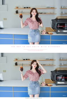 bs4482 러블리한 매력가득한 프릴 장식 싸개버튼 깅엄체크 V넥 블라우스 blouse   ATTRANGS: Shop Korean fashion clothing, bags, shoes and accessories for women Gingham Check, Body Size, Daily Look, Fabric Material, No Frills, Shirt Blouses, Korean Fashion, High Waisted Skirt