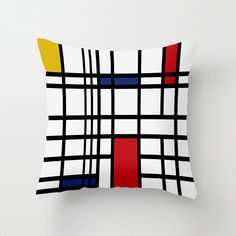 Iconic Open Lines Pillow   dotandbo.com Make a statement with this artistic pillow. Inspired by an early 20th century icon whose radically simple linear elements and use of primary colors are celebrated. The pillow's design featurs horizontal and vertical lines in black, a background of white, and a major pop of primary color.