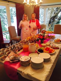 Check out the delicious spread and fantastic aprons at Gabrielle's Breakfast