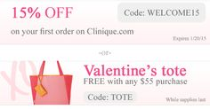 Enter coupon code: TOTE to get a free Valentines tote or WELCOME15 for an extra 15% discount on your 1st purchase on Clinique. More coupons: http://clinique-bonus.com/clinique-coupons/