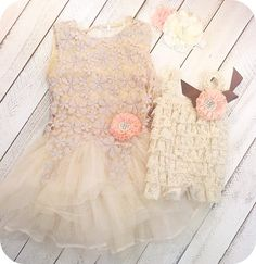 This matching sister dress/outfit set comes with a gold ivory detailedlace dress with peach adorned flower and a matching little sister romper with matching headband. Great for girls for birthdays, weddings, and those family photos.
