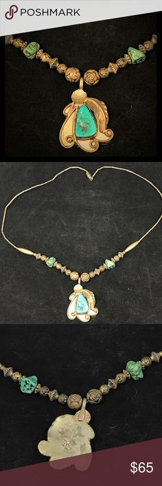 """Signed Turquoise and silver necklace Beaded necklace with fun shapes and colorful turquoise! 21"""".  Signed E.L. Native AMERICAN Jewelry Necklaces"""