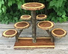 Large Log Dark Elm Wood Rustic Cake 120 Cupcakes Pie Stand Wedding party shower wooden 10 tiered Collapsible from The Shindiggity Shoppe Wood Projects, Woodworking Projects, Woodworking Jigs, Welding Projects, Lumberjack Party, Bois Diy, Rustic Cake, Rustic Wood, Wood Slices