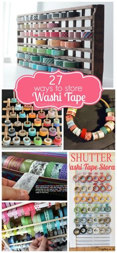 Washi Tape Storage Ideas is part of crafts Organization Rolling - Love Washi Tape Need ideas on how to store it all Here are clever ideas for Washi Tape storage! Loads of DIY solutions to organize your washi tape Craft Room Storage, Paper Storage, Craft Organization, Diy Storage, Storage Ideas, Diy Washi Tape Storage, Craft Rooms, Storage Solutions, Tapas