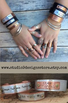 Personalized gift Personalized jewelry Personalised bracelet Customized bracelet Custom Bracelet Metal stamped jewelry Name bracelet Stamped Leather Bracelets, Leather Cuffs, Leather Jewelry, Cuff Bracelets, Personalised Bracelets, Personalized Jewelry, Fall Fashion, Boho Fashion, Copper Jewelry