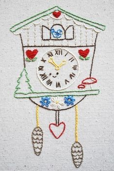 Cuckoo Woodland Clock Hand Embroidery Pattern by wildolive Embroidery Designs, Embroidery Transfers, Crewel Embroidery, Vintage Embroidery, Embroidery Applique, Cross Stitch Embroidery, Machine Embroidery, Lazy Daisy Stitch, Vintage Patterns