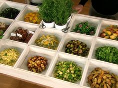 Box buffet. Love this! Design by east coast caterer Peter Callahan. Shared via Martha Stewart and the Hallmark Channel.