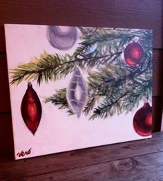 Ornaments on tree canvas