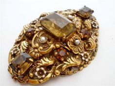 Vintage Amber Rhinestone Pearl Brooch Made In West Gemany Large Layered Pin