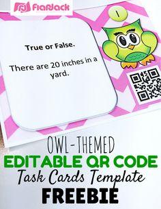Classroom Freebies: Editable Owl QR Code Task Cards Template FREEBIE