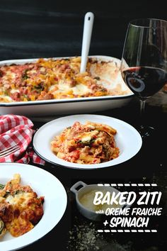 Baked Ziti with Creme Fraiche & Spinach- perfect for a crowd /weeknight dinners. Find the recipe on Shutterbean.com!