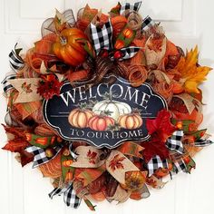 Fall Mesh Wreaths, Autumn Wreaths For Front Door, Fall Deco Mesh, Wreath Fall, Door Wreaths, Thanksgiving Wreaths, Thanksgiving Decorations, Wreath Storage, Fall Door Decorations