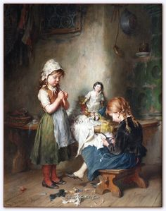 'The Little Seamstress' Signed Oil on Canvas, x Heinrich Hirt German 1841 - 1902 There was a great appetite for sentimental paintings of children in the century both in England and on the continent. and the Munich painter Heinrich Hirt ploughed a Art And Illustration, Images Vintage, Vintage Pictures, Vintage Art, Old Paintings, Beautiful Paintings, Carl Spitzweg, Munier, Sewing Art