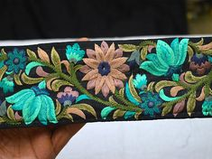Decorative sari wholesale turquoise black fabric floral pattern sewing crafting décor ribbon trim by 9 yard embroidered saree costume trimmings fashion garments designer ladies suit border Make beautiful wedding wear using our embroidery laces Embroidery Saree, Ribbon Embroidery, Embroidery Designs, Sewing Lace, Sewing Trim, Diy Belts, How To Make Purses, Fashion Tape, Bias Tape