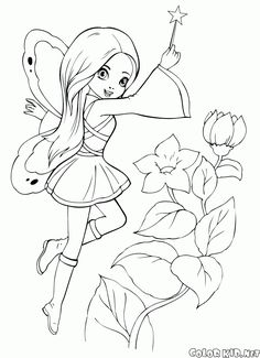 Cute Fairy Cartoon Coloring Pages Fairy Coloring Pages, Princess Coloring Pages, Free Adult Coloring Pages, Free Coloring Sheets, Coloring Pages For Girls, Cartoon Coloring Pages, Free Printable Coloring Pages, Coloring Books, Disney Coloring Sheets