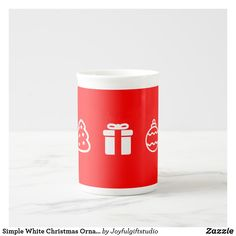 Simple White Christmas Ornaments on Red Background Tea Cup