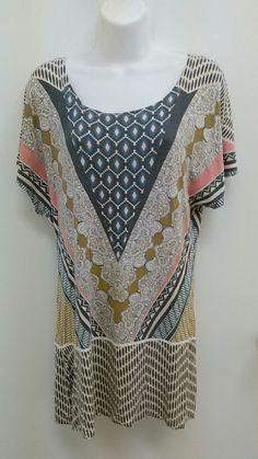 Rue 21 Size Small Blue Salmon Tan Loose Fit Sleeveless Dress Floral Geo B275 #Rue21 #MaxiTunic #Casual
