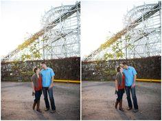 Urban amusement park engagement photos from Green Blossom Photography // Urban Engagement Photos, Engagement Session, Amusement Park, City, Green, Photography, Photograph, Fotografie, Cities