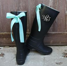 Monogramed Black Gloss Rain Boots with Ivory by PuddlesNRainBows $78