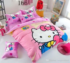 Hello Kitty Twin Queen Size Bedding Set Include Duvet Cover Bed Sheet Pillowcase Children Kids Comforter Bedding Sets Housse De Couette Bedding Sets Queen Cheap Bedding Sets For Sale From Xzqgoodluck, $45.23| Dhgate.Com