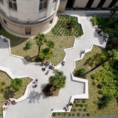 Image 4 of 25 from gallery of Françoise Sagan Multimedia Library / Bigoni Mortemard. Photograph by Bigoni Mortemard Architecture Design, Landscape Architecture, Landscape Plans, Green Landscape, Modern Landscaping, Outdoor Landscaping, Lanscape Design, Pocket Park, Urban Park