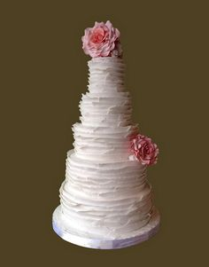 ruffle cake with sugar roses