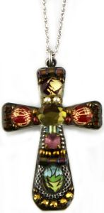 The cross is 1 3/4″ X 1 1/4″. The chain is adjustable 18-22″.