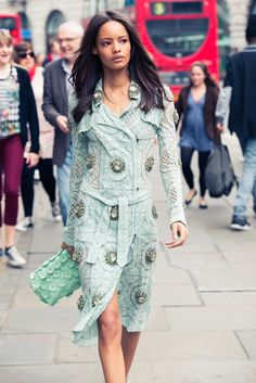 London calling! Malaika Firth looking fierce in a lace Burberry trench. #London