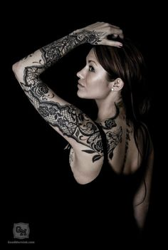 A lace tattoo works perfectly for a woman that wants to celebrate her femininity. Women love to use lace tattoo designs on their shoulders, thighs and arms. Lace Sleeve Tattoos, Sleeve Tattoos For Women, Tattoo Sleeve Designs, Tattoo Designs For Women, Tattoo Girls, Tattoo You, Girl Tattoos, Tatoos, Arrow Tattoos