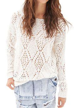 Open-Knit Pom Pom Sweater | Forever 21 - 2000060894