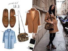 long khaki coat + woolen black tights + oxfords